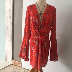 Reddish orange floral dress by Missguided